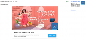CitiBank promo ad in an email